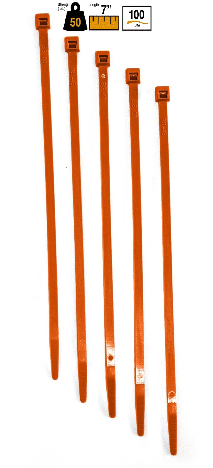 """BuyCableTies 7"""" Standard Indoor Cable Ties - 50 lb Rated - Made in USA - Orange - 100 per bag"""