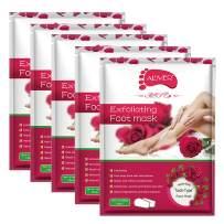 Foot Peel Mask 5 Pack, Rose Exfoliating Foot Masks, Natural Exfoliator for Dry Dead Skin, Callus, Repair Rough Heels for Men Women