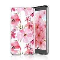 TJS Phone Case for LG K10 2018/K30/Premier Pro LTE/Harmony 2/Phoenix Plus/Xpression Plus, Slim TPU Matte Color Marble Transparent Clear Soft Skin Drop Protector Back Cover (Cherry Blossm)