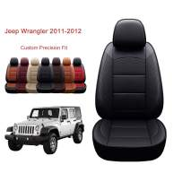 OASIS AUTO Jeep Wrangler JK 2011-2012 Unlimited, Sahara, Sport, X, Custom Exact Fit PU Leather Seat Covers Accessories Full Set (4DR, Black)