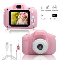 Techken Kids Camera 1080P Children Digital Camera Child Camcorder 2.0 inch Shockproof Mini Cartoon Pink Rechargeable for 3-10 Year Old Kids W/ 16 GB Memory Card