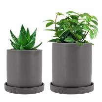 GeLive Ceramic Succulent Planter, Cylinder Plant Flower Pot with Drainage Hole and Tray Saucer, Nordic Minimalism, Elegant Modern Home Decor (Small + Medium, Matte Gray)