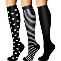 Compression Socks,(3 Pairs) Compression Sock Women and Men Best Running, Athletic Sports, Flight Travel