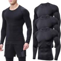 Lavento Men's 3-Pack Compression Shirts Crewneck Long Sleeve Moisture Wicking Workout T-Shirts