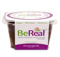BeReal Doughs Edible and Bakeable Cookie Dough   Organic Gluten-Free and Plant-Based, Ready to Eat and Bakeable Vegan Chocolate Chip Cookie Dough   Allergen Friendly   Brownie Fudge Chip  16 Oz