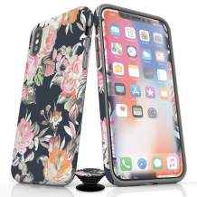 Phone Accessory Bundle for iPhone X/XS - Screen Protector, Matte iPhone Case, and Cell Phone Grip with Fall Floral Design