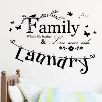 Wall Decals Family Where Life Begins and Love Never Ends Wall Stickers for Living Room Laundry Home Decor Toilet Bathroom Kitchen Bedroom Vinyl Quotes Letters Nursery Kids Girls Boys Paper Sticker