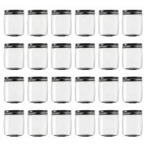 Novelinks 8 Ounce Clear Plastic Jars with Black Lids - Refillable Round Clear Containers Clear Jars Storage Containers for Kitchen & Household Storage - BPA Free (24 Pack)