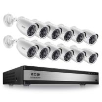 ZOSI 16 Channel Outdoor Security Camera System,1080p Lite CCTV DVR Recorder and 12 x 720p Weatherproof Home Surveillance Bullet Camera Outdoor Indoor with Night Vision (No Hard Drive)