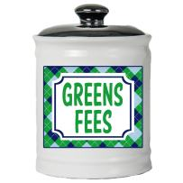 Tumbleweed Cottage Creek Golf Gift Round Ceramic Greens Fees Jar/Novelty Golfing Gifts Dad Golf Gifts [White]