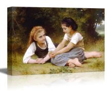 """wall26 - The Nut Gatherers by William-Adolphe Bouguereau - Canvas Print Wall Art Famous Painting Reproduction - 16"""" x 24"""""""
