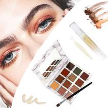 Eyeshadow Palette 12 Colors Matte & Glitter Shimmer + Invisible Eyelid Glue Cream Non eyelid tape, Waterproof & Long-Lasting Eye Combination Cosmetic Set, Perfect For Droopy, Uneven, or Mono-eyelids