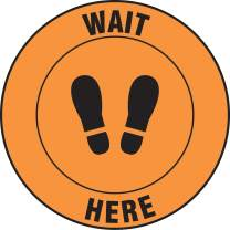 """Accuform Round Social Distancing Floor Sign""""Wait Here"""" (with Footprints Symbol), 17"""" Diameter, MFS391"""