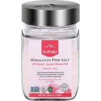 Anthela Himalayan Pink Salt, Medium Grain Glass Jar 11.3oz, Premium Organic Gourmet 100% Pure Ancient Mineral Sea Salt. Natural and Amazing Flavor. Non-GMO, Kosher, Halal, Sedex Certified.