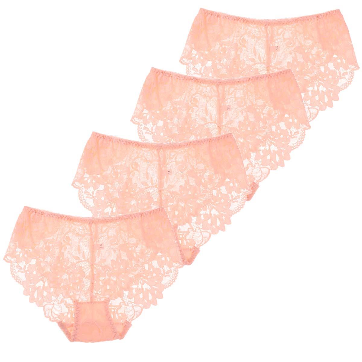 Women 4 Pack Sexy Lace Panties Soft Seamless Plus Size Underwear M-4XL