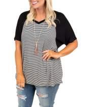 Womens Raglan Striped T-Shirt Plus Size Color Block V Neck Tee Shirt Short Sleeve Summer Casual Top