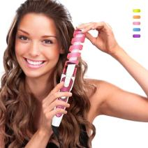 SexyBeauty Professional Portable Hair Salon Spiral Curl Ceramic Curling Iron Hair Curler Waver Maker Curling Wand (pink)