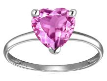Star K Solid 14k White Gold Heart Shape Solitaire Engagement Promise Ring