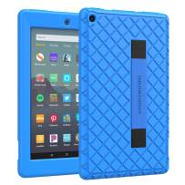 Dadanism Case Fits All-New Amazon Kindle Fire 7 Tablet (9th Generation, 2019 Release), Silicone Case Soft Back Cover with Hand Strap Edges Protection Compatible with Fire 7 2019 Tablet - Blue