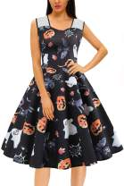 Women's Halloween Dress Vintage Pumpkin Skull Witch Printed Swing Sleeveless 50s Cocktail Tea Sexy Skirt Party Costumes