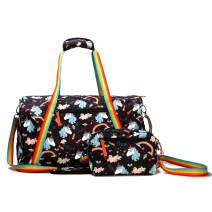 Kemy's Unicorn Duffel Bag for Women Carry On Tote Bag 2 Pieces with Cute Rainbow, Colorful Belt, Black Cylindrical bag
