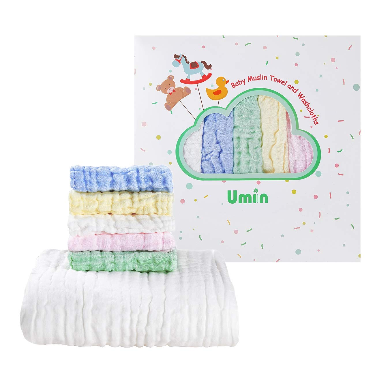 Umiin Baby Towel and Washcloths Set - Premium Baby Shower Gift for Boys and Girls - Baby Registry Must Haves - 1 Muslin Baby Bath Towel and 5 Baby Muslin Washcloths