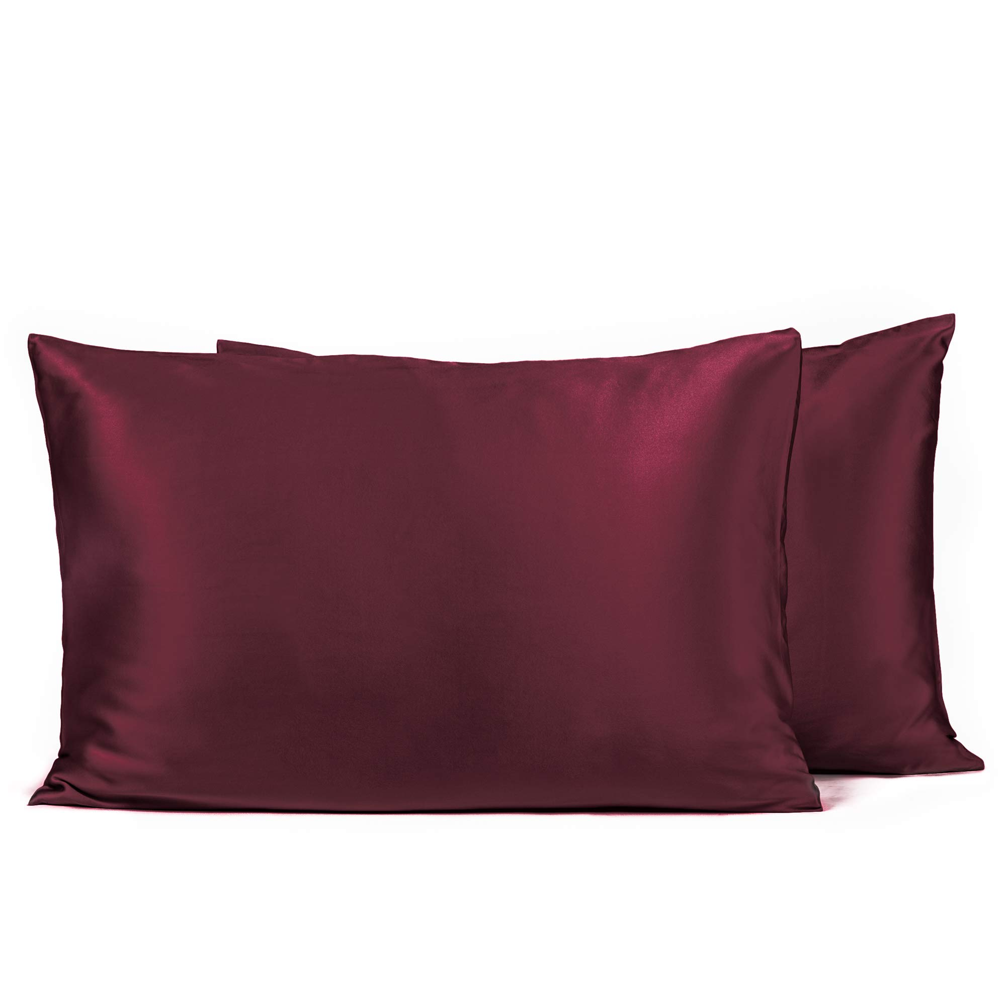 Fishers Finery 25mm 100% Pure Mulberry Silk Pillowcase, Good Housekeeping Winner (Red, Queen 2 Pack)