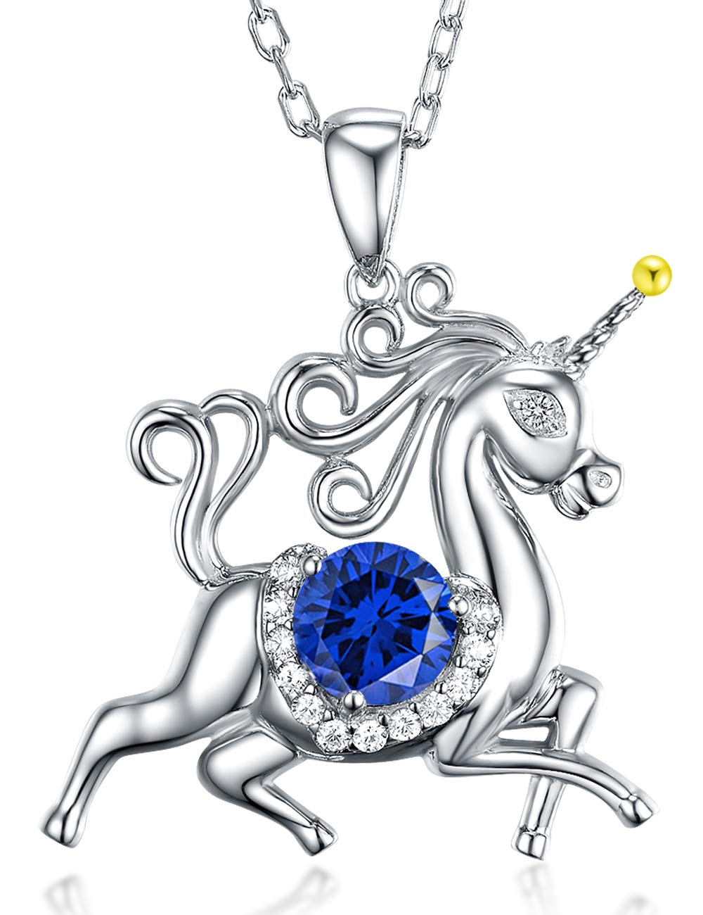 Birthday Gifts for Daughter Blue Sapphire Jewelry Unicorn Necklace for Teen Girls Granddaughter Sterling Silver Animal Necklace