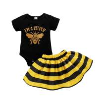 Newborn Infant Baby Bumble bee Clothes Girl Letter Print Romper+Black Yellow Stripe Skirt Outfit Set