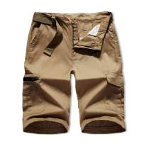 XIONG TAI Men's Big&Tall Size Cargo Short Lightweight Relaxed Fit Multi-Pockets with Belt