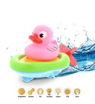 Dollibu Boat Racer Buddy, Fun Educational Bath Toy Finger Puppet Pull and Go Water Racing Lake Pal for Shower Pool Bathtub Swim Hard Surface for Baby Toddler and Boy - 6 Inch - 3 in 1 Game – Pink Duck