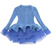 Blue Baby Toddler Long Sleeves Knitting Ruffle Tutu Red Pullover Sweater for Girls Kids Sueter para niños 2t 24M
