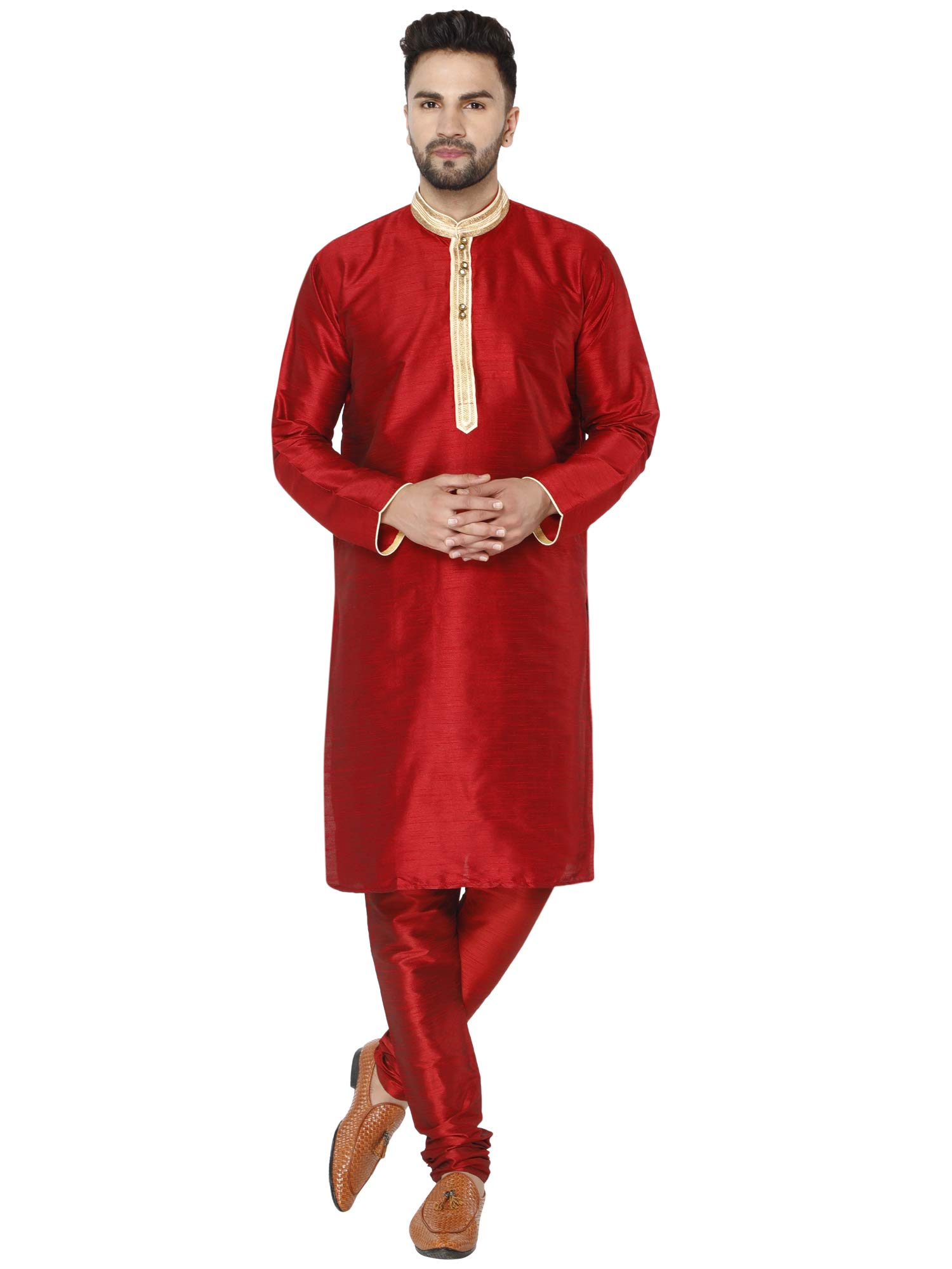 SKAVIJ Men's Indian Art Silk Kurta Pajama Summer Wedding Party Ethnic Dress Set