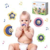 TUMAMA 4 Packs Shapes Teether Sets, Baby Rattles Sensory Balls,Textured Multi Ball Gift Sets for Kids, Toddlers, Infants, Boys and Girls