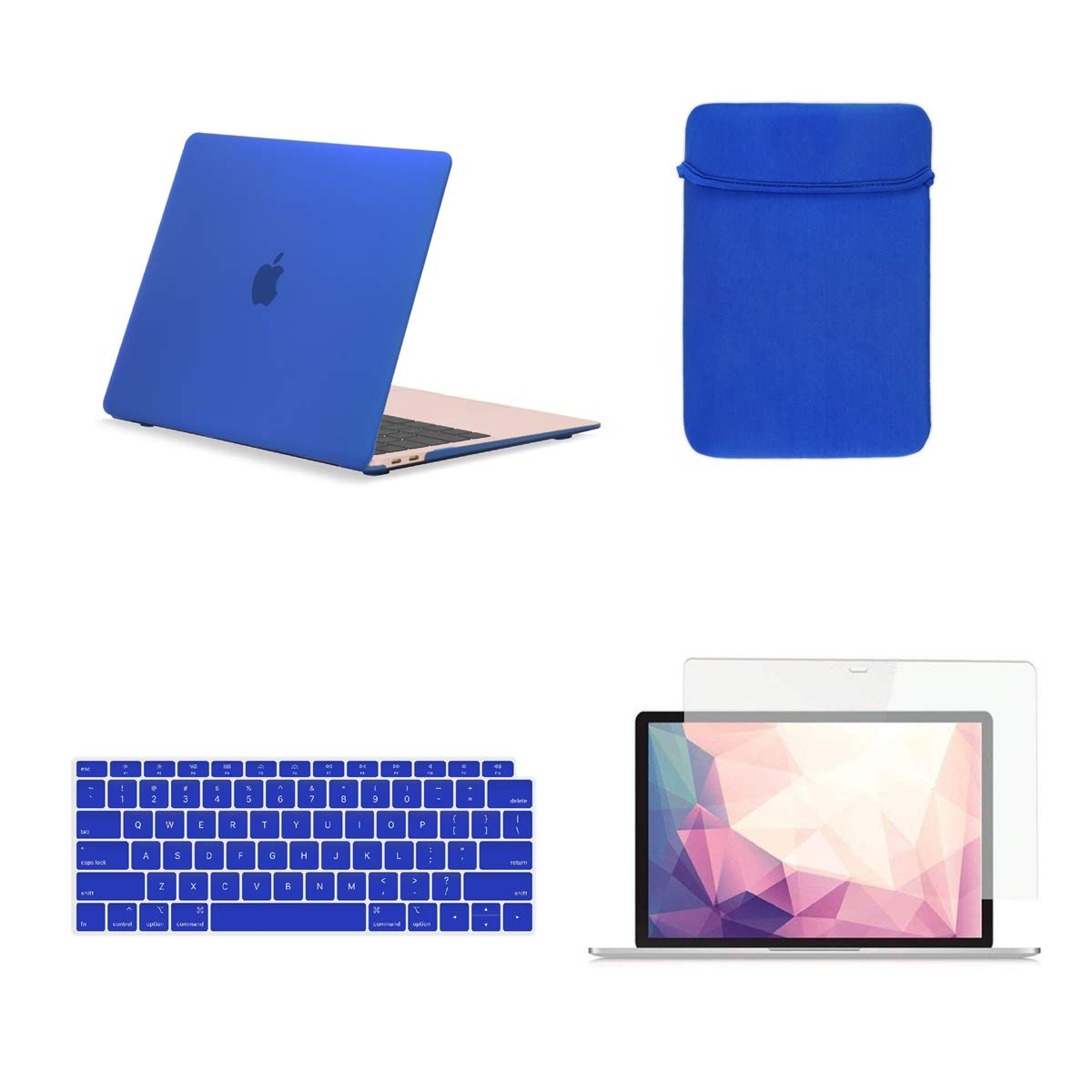 TOP CASE MacBook Air 13 Inch Case A1932 with Retina Display fits Touch ID 2019 2018 Release, 4 in 1 Essential Bundle Rubberized Hard Case, Keyboard Cover, Sleeve, Screen Protector - Royal Blue