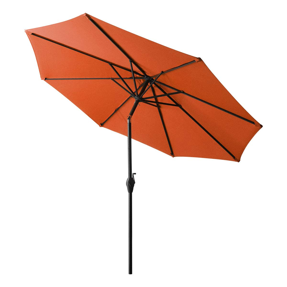 MURBONE 9FT Patio Umbrella Outdoor Table Umbrella with 8 Sturdy Ribs, Tilt and Crank Market Umbrellas for Garden, Deck, Backyard and Pool (Orange)