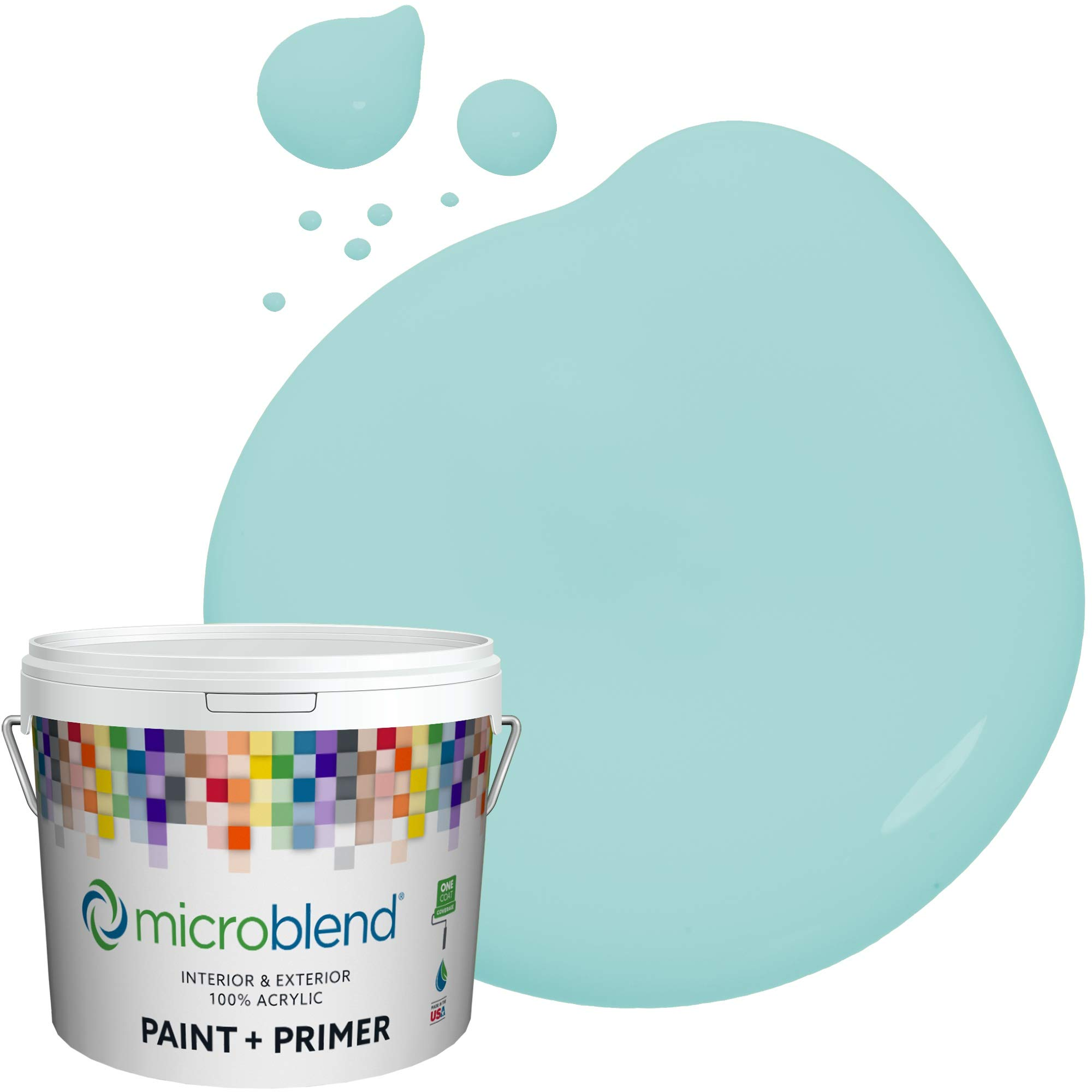 Microblend Interior Paint + Primer, Surf's Up, Eggshell Sheen, 1 Gallon, Custom Made, Premium Quality One Coat Hide & Washable Paint (73220-2-M0422B3)