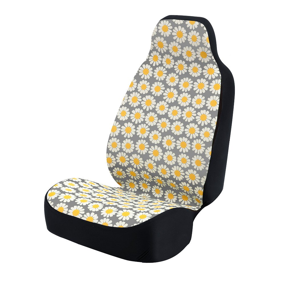 Coverking Universal Fit 50/50 Bucket Flower Fashion Print Seat Cover - Daisy Crazy (Yellow and White Daisies with Grey Background)