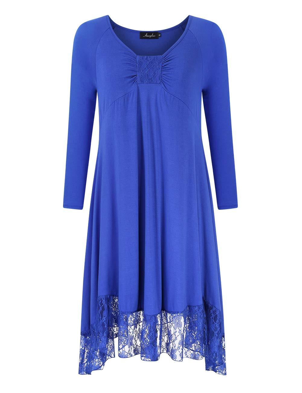 AMZ PLUS Women's Plus Size Lace Stitching Long Sleeve Casual Maxi Swing Dress Blue XL