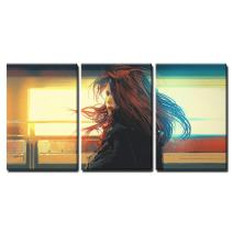 """wall26 - 3 Piece Canvas Wall Art - Beautiful Woman Standing Against Colorful Lights,Digital Painting - Modern Home Decor Stretched and Framed Ready to Hang - 16""""x24""""x3 Panels"""