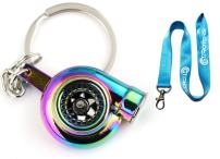 GT//Rotors Neon Chrome Spinning Turbo Keychain (Bonus: Blue Lanyard)