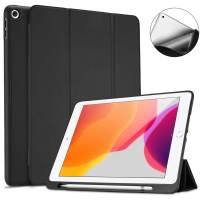 """ProCase New iPad 7th Generation Case 10.2"""" 2019 with Pencil Holder, Flexible Soft TPU Back Cover Ultra Slim Lightweight Stand Protective Case for 2019 Apple iPad 10.2 inch 7th Gen -Black"""