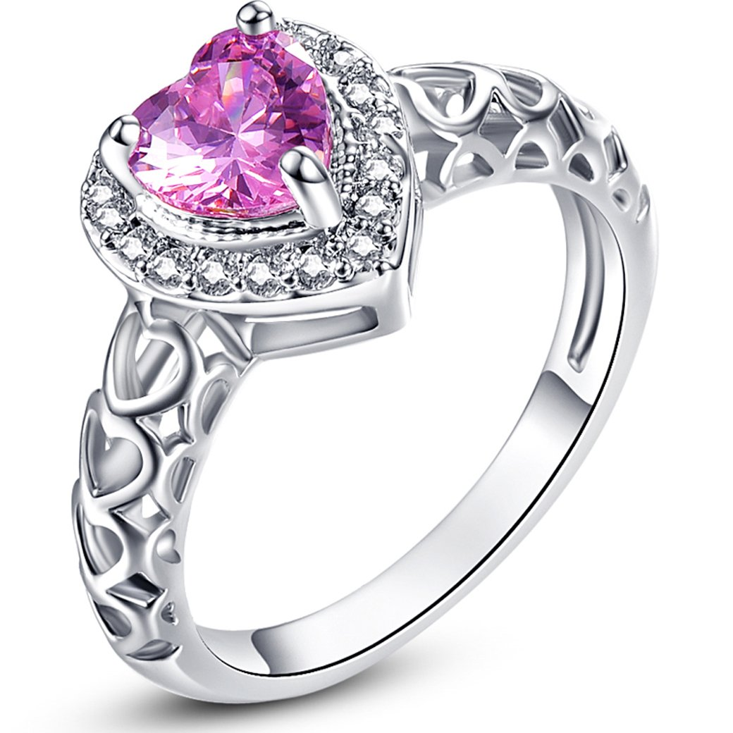 Narica Womens Brilliant 6mmx6mm Heart Shaped Pink Topaz Cubic Zirconia Engagement Ring