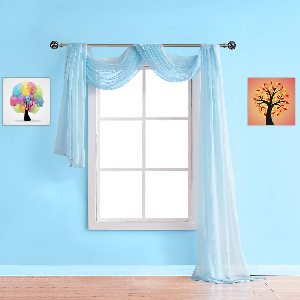"""Warm Home Designs Extra Long Baby Blue Sheer Window Scarf. Valance Scarves are 56 X 216 Inches in Size. Great As Window Treatments, Bed Canopy Or for Decorative Project. AM Baby Blue 216"""""""