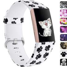 Ouwegaga Floral Bands Compatible with Fitbit Charge 4 and Charge 3 Water Proof Fadeless Pattern Printed Silicone Multi Patterns