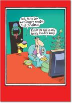 12 'Shopping Minutes' Boxed Christmas Cards with Envelopes 4.63 x 6.75 inch, Funny Glenn McCoy Christmas Notes, Hilarious Man and Dog Cartoon Holiday Cards, Unique Christmas Stationery B5789