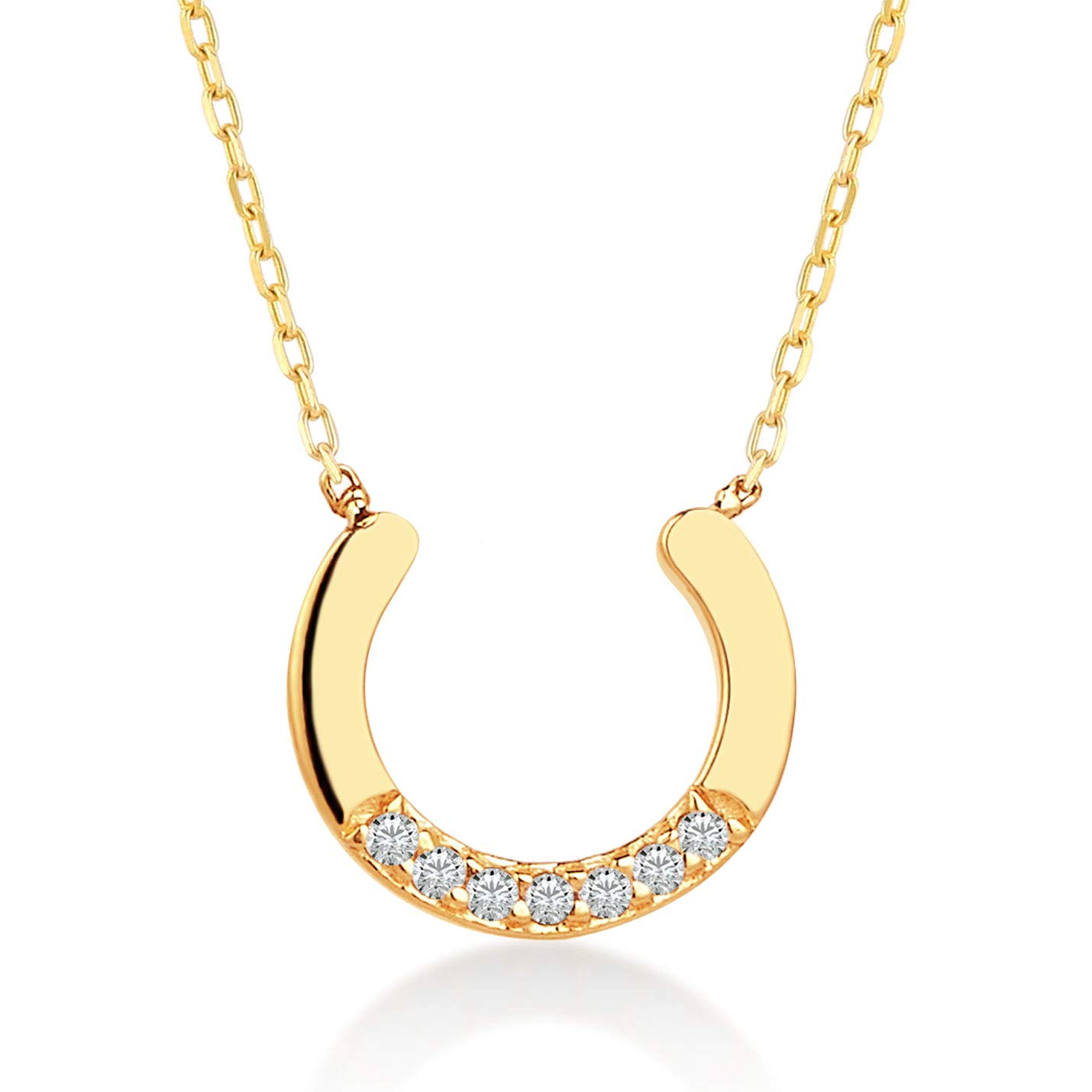 Gelin 14k Real Gold 0.02 ct Diamond Lucky Horse Shoe Chain Necklace for Women, A Perfect Birthday Gifts for Girlfriend, Wife, 18 inch