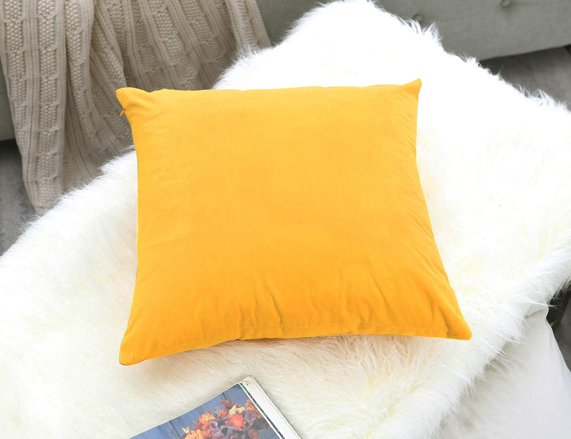 COMFORTLAND 20x20 Throw Pillow Covers Orange Yellow: 2 Pack Cozy Soft Velvet Square New Year/Christmas Decorative Pillow Cases for Farmhouse Sofa Couch Bed Chair Home Decor Decorations