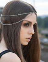 Hypnotique Hair Jewelry for Women Head Chain for Indian Wedding Headpieces for Bride Dresses with Bohemian Gypsy Rhinestone Headband Silver Tone