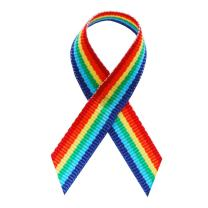 USA   American Made 125 Rainbow Fabric Awareness Ribbons - Bag of 125 Fabric Ribbons with Safety Pins - Pin Attached